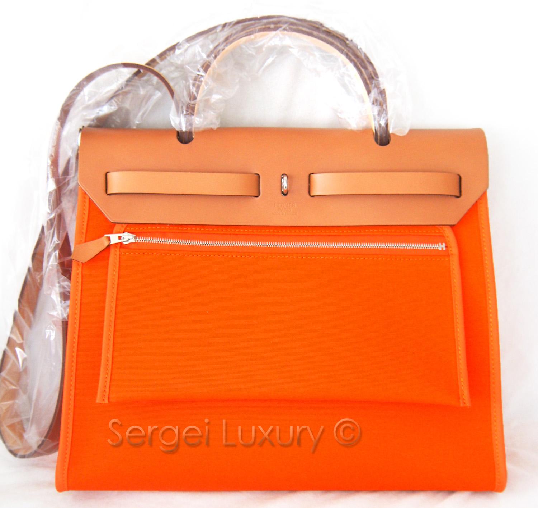 7d44917abd NEW! Authentic HERMES Herbag Zip Canvas Orange 31cm PM + Kelly Lock ...