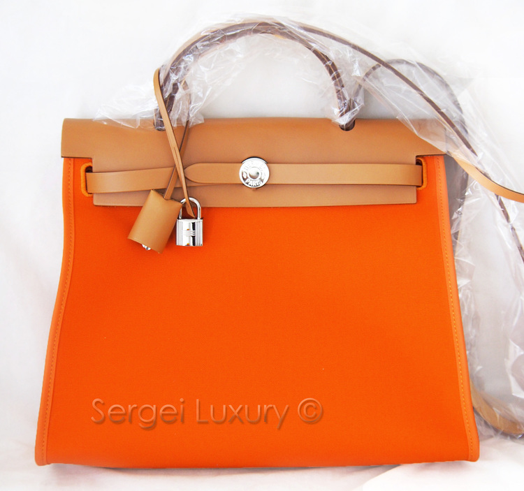 NEW! Authentic HERMES Herbag Zip Canvas Orange 31cm PM + Kelly Lock ... bdca93404500