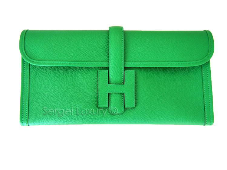 RARE! New HERMES Classic H BAMBOO Green 29 Elan Jige Epsom Clutch ... 3742490f6