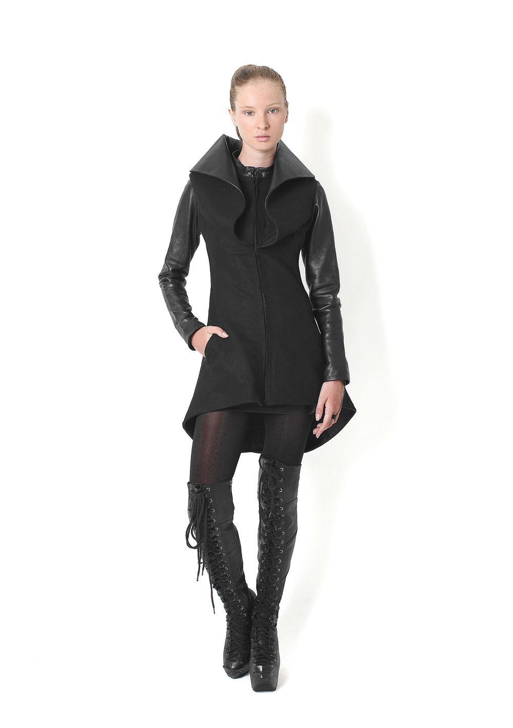High Collar Jacket, Long plated Boots