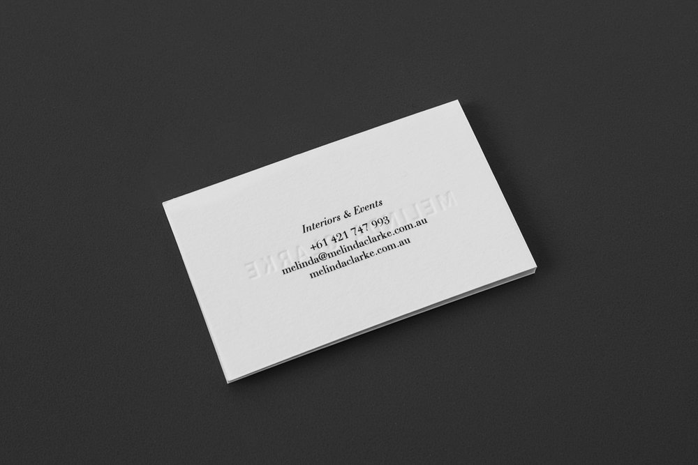 Visual identity and stationery design for Melinda Clarke.