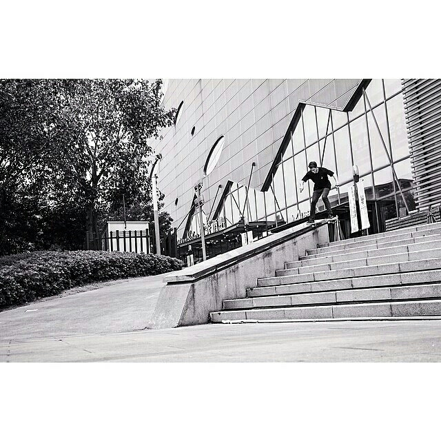 Jono breaks out his standard nollie noseslide on a Guangzhou block.