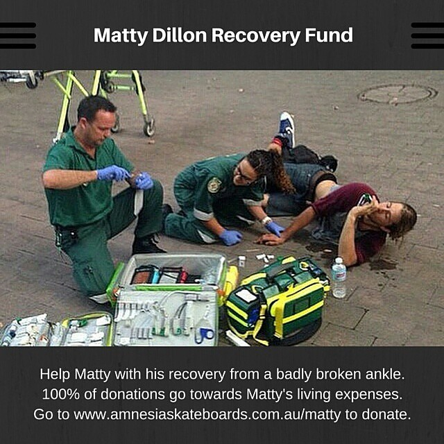 Click the link in our profile to donate to @mattydizz's recovery fund. 100% of donations go towards Matty's living expenses while he gets back on his feet. Please help the cause by reposting the image above.