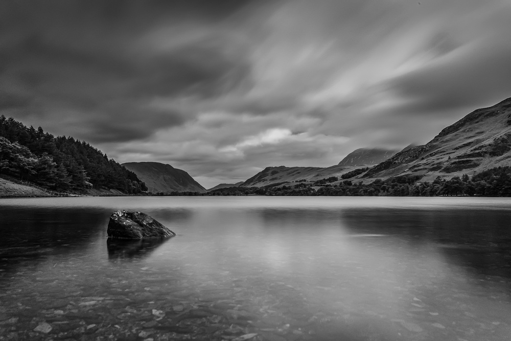 Buttermere in Black and White. Fujifilm X-T1 + 18mm f/2 @ f/11. ISO 250. B+W ND Filter. 28 Second Exposure.