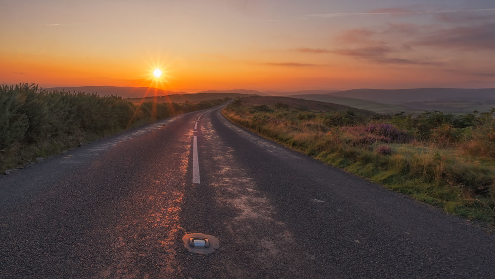 The Road up Porlock Hill at sunrise. Exmoor. Fujifilm X-T1 + 10-24mm @ 10mm. f/22. 1/18.