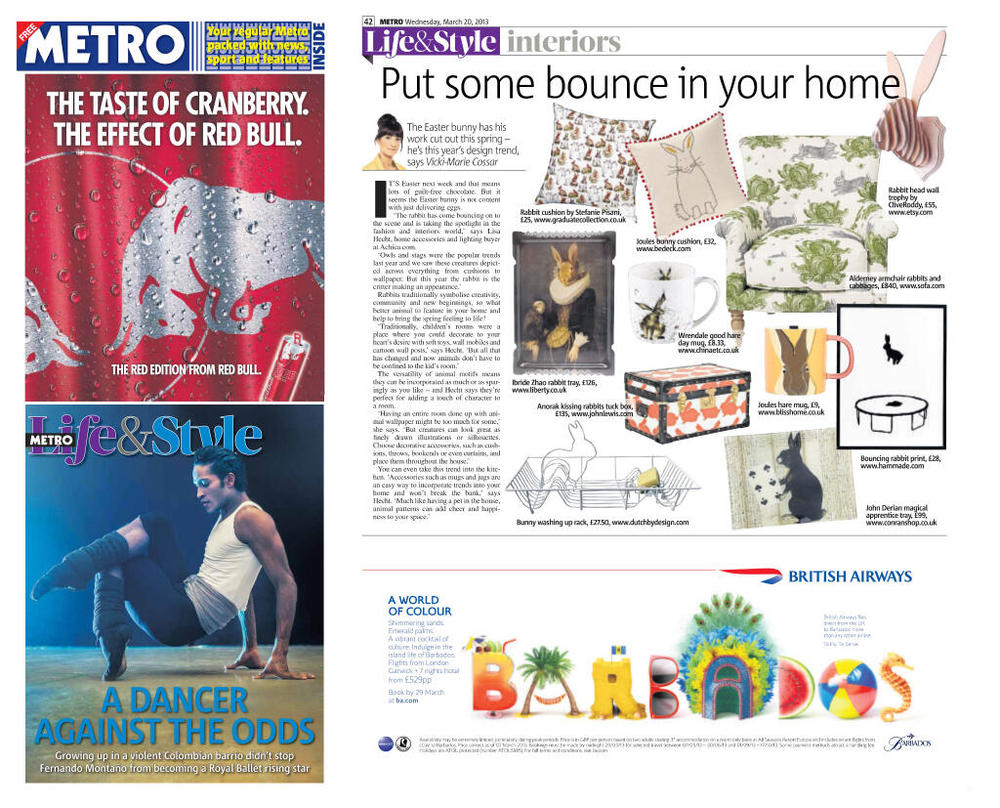 'Hare Trophy' featured in the Metro newspaper. Published in March 2013. UK.