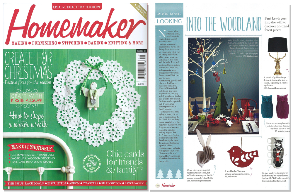 'Hare Trophy' featured in Homemaker magazine. Published in December 2013. UK.