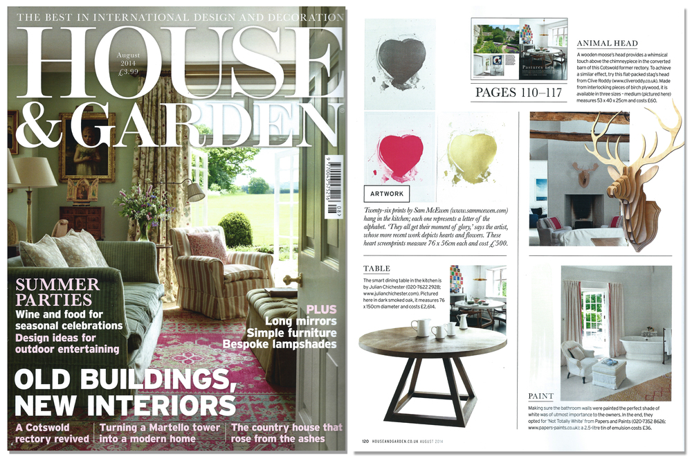 'Stag Head Trophy' featured in House & Garden Magazine. Published in August 2014.