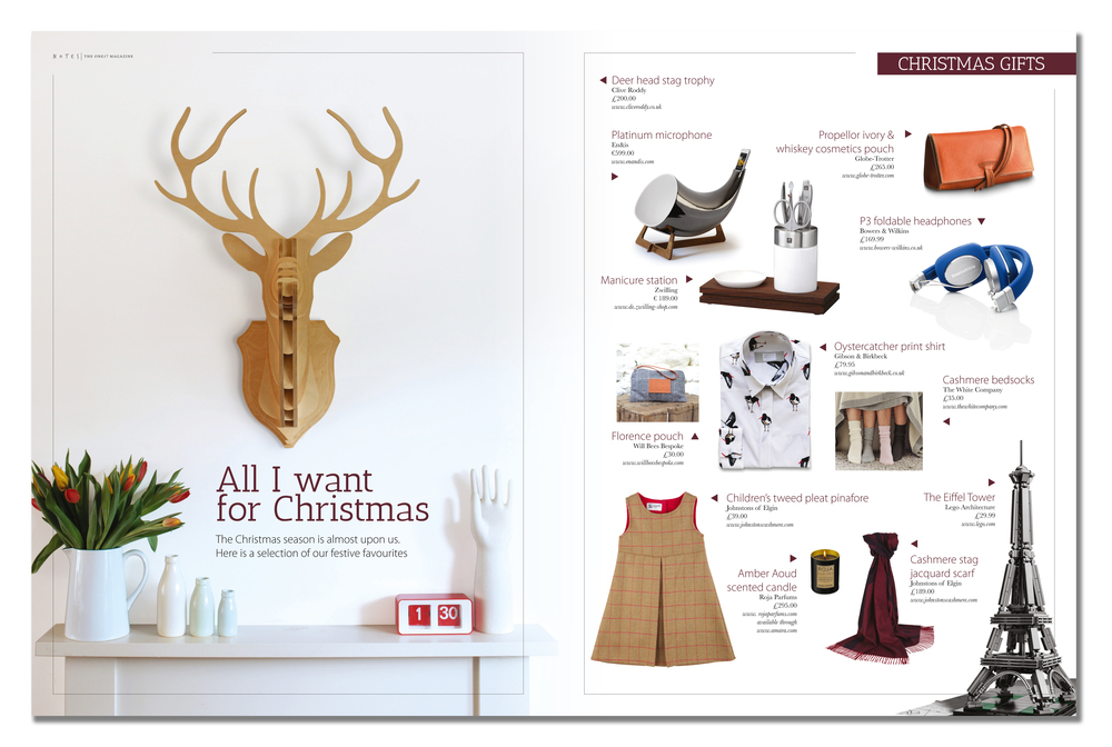 'Large Stag' featured in the Autumn/Winter 2015 edition of 'Notes -The One17 Magazine'. Published in November 2015. UK.