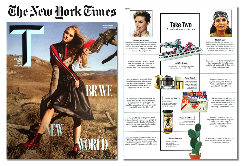 'Cacti Coasters' featured in 'T' - The New York Times style magazine  . Published in February 2016. USA  .