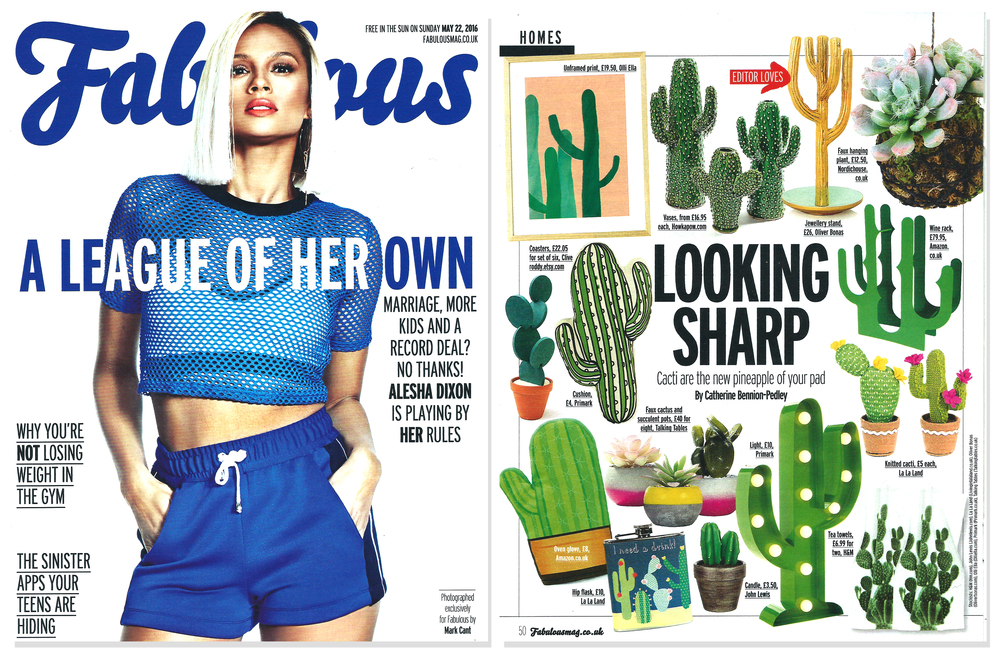 'Cacti Coasters' featured in 'Fabulous' - The Sun Newspaper Magazine  . Published in May 2016. UK  .