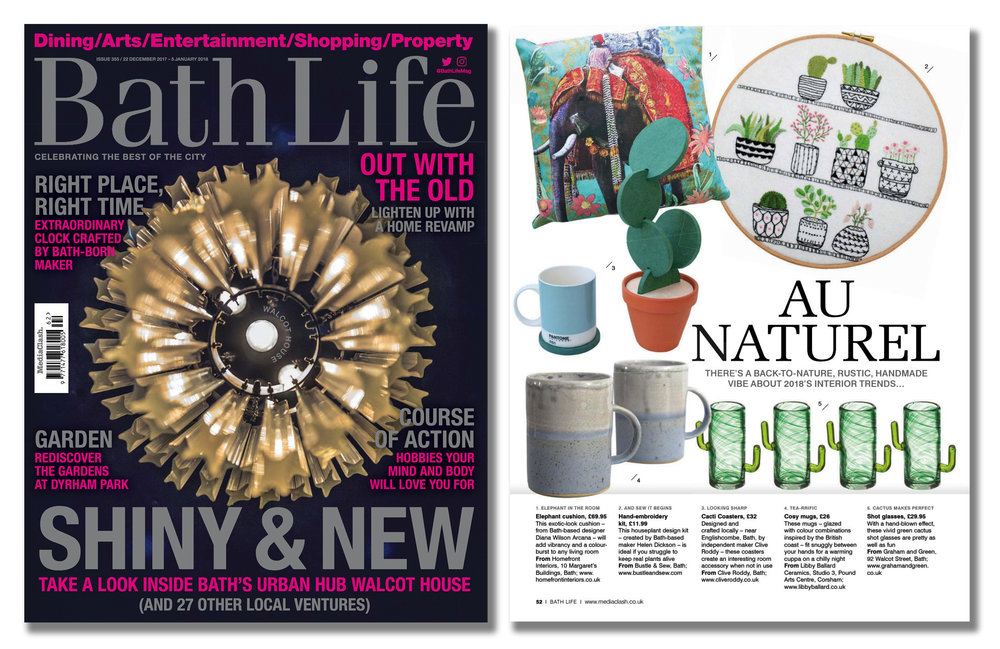 'Cacti Coasters' featured in Bath Life Magazine  . Published in December 2017. UK  .