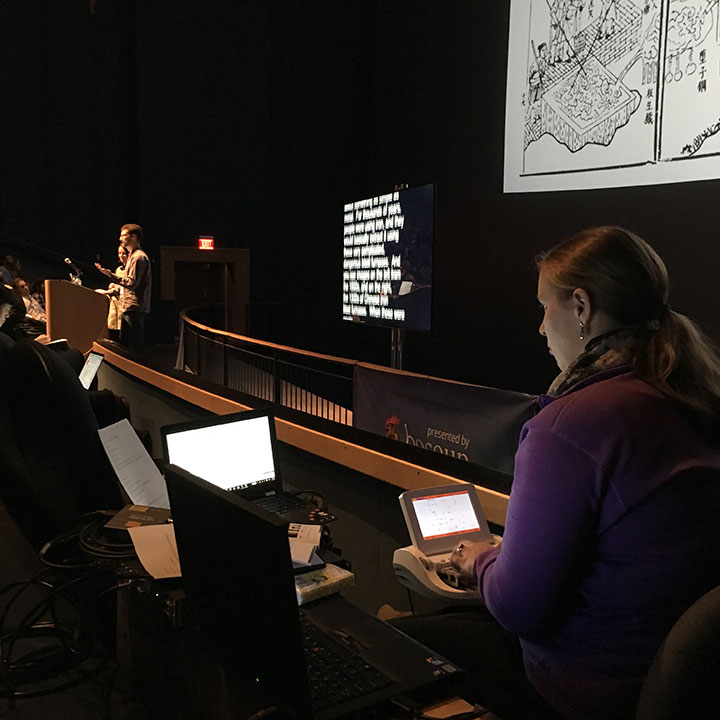 An action shot of Amanda at OpenVisConf 2016