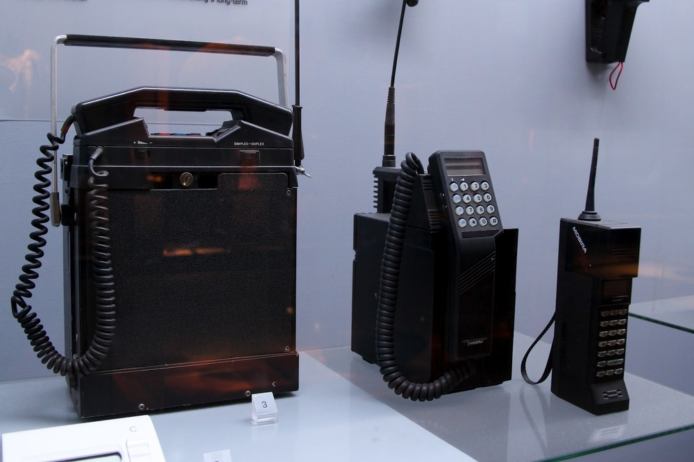 Some of Nokia's early forms of their telecoms equipment - military radio gear and an early car phone