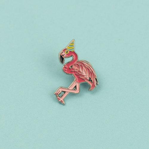 Flamingo in a Party Hat Enamel Pin Badge