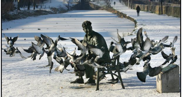 Pigeons around the sculpture of Brendan Behan on the Royal Canal in Dublin.