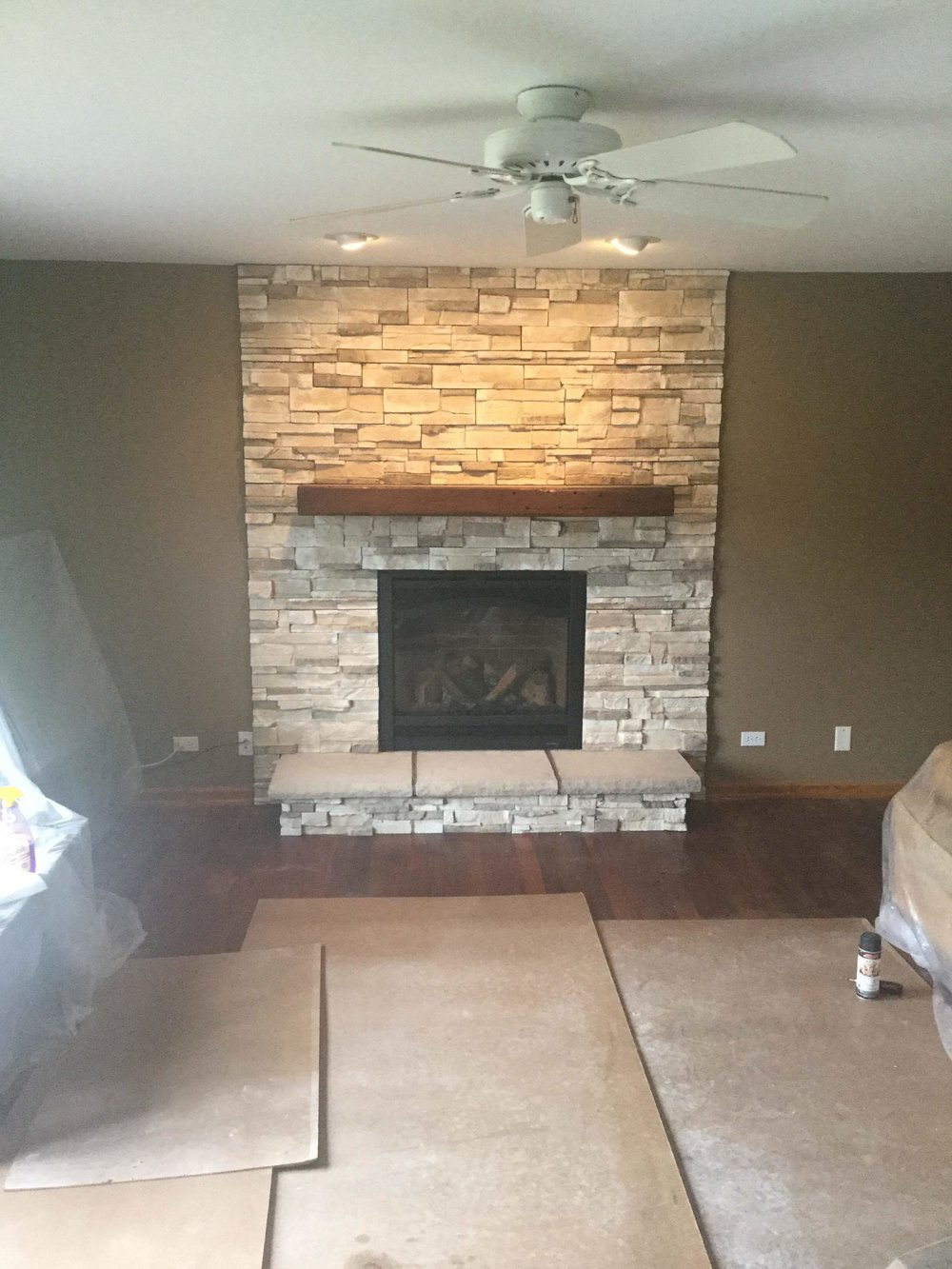 SL-7X with stone work and mantel