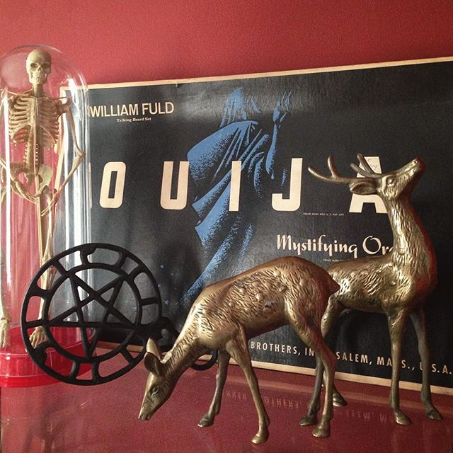 More new finds 👻 #vintage #midcentury #oddities #kitsch #skeleton #ouija #trivet #brass #deer #homedecor #fleamarket #grandrapids #michigan