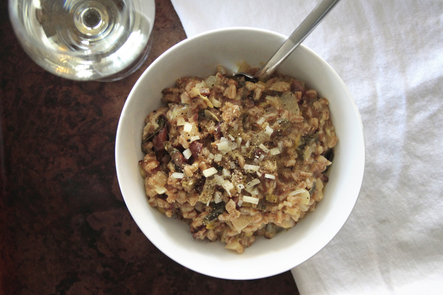 Farro Carbonara With Leeks