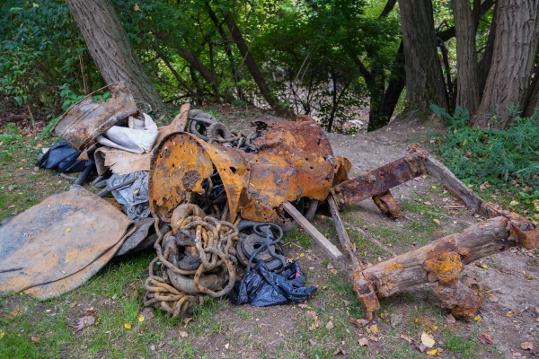 Debris pulled from the river