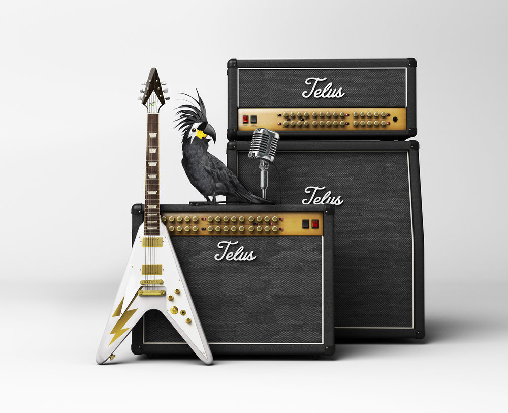 Client • Telus  Agency • The & Partnership  Art Director • Adrian Cooper  cgi guitar, amps and mic • Brad Pickard