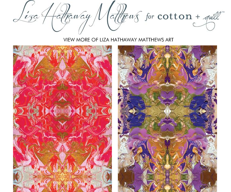 """Coral Crush"" & ""Purple Orchid"" by Liza Hathaway Matthews for Cotton + Quill"