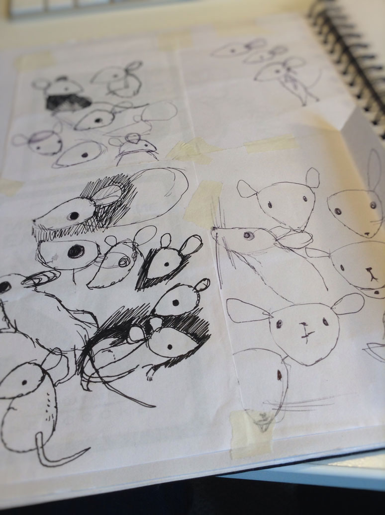 I started to sketch out different ways the mice might look on the train home from the meeting and kept on drawing for days afterwards. My sketchbook is filled with scraps of mousey paper. It turns out that bus journeys are ideal places for doodling mice...
