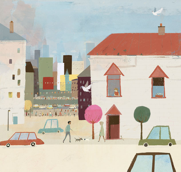 One of my favourite pages comes at the very beginning of the book. The spread shows Town Mouse's busy home in all it's chaotic glory. By happy coincidence only a week or so before I'd painted a quick little city scene of my own. I reworked some of those elements into the finished picture... Kismet!