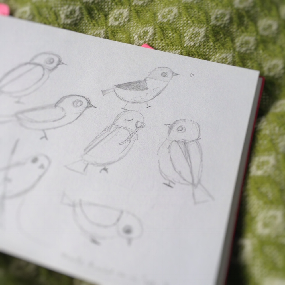 As usual, I began roughing out Bird in my sketchbook. We decided from the beginning that Bird should be a little generic in appearance and not a specific type. I realise now, looking back through my sketchbooks, I always doodle a little heart besides drawings I'm happy with...