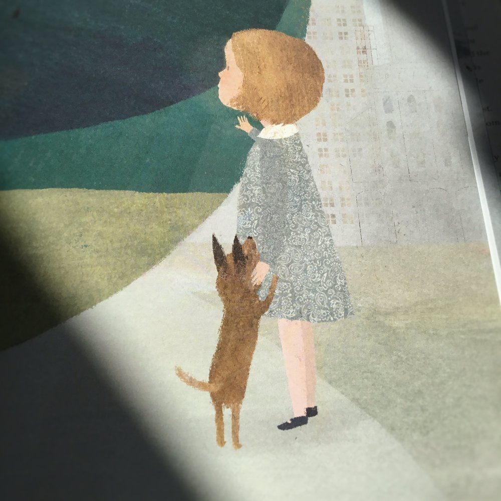 I seem incapable of painting anything without somewhere including a dog. Troy has written a insightful blog about the story. In   this  instalment, I talk about how Wednesday's little friend came to be in the artwork.
