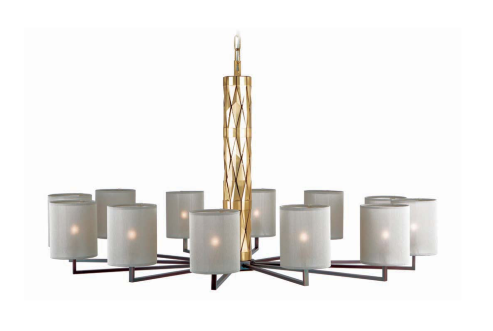 Officina Luce Flaire chandelier 12 lights with burnished and natural brass finish | Masha Shapiro Agency.jpg