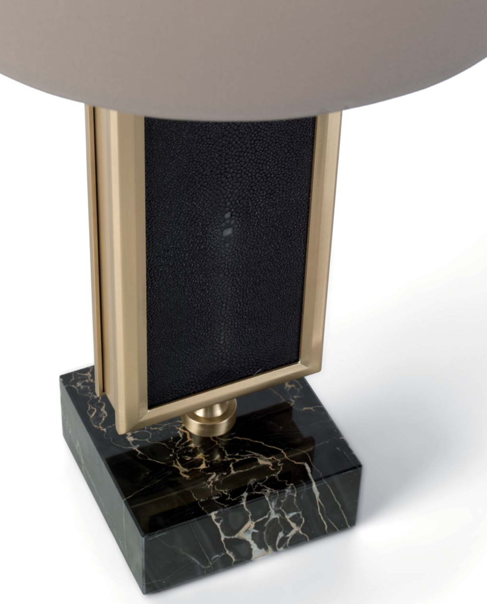 Officina Luce Flute table lamp upholstered with real shagreen on both sides and Portoro marble base | Masha Shapiro Agency.png