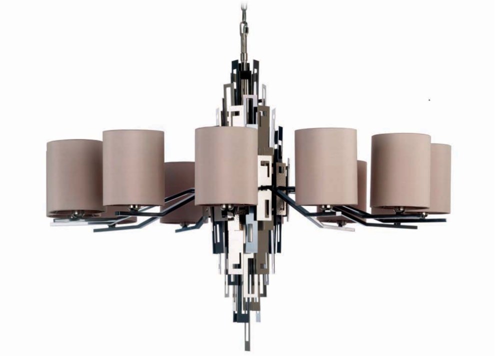 Officina Luce Glam chandelier 12 lights in polished black nickel, satin and polished nickel | Masha Shapiro Agency.png