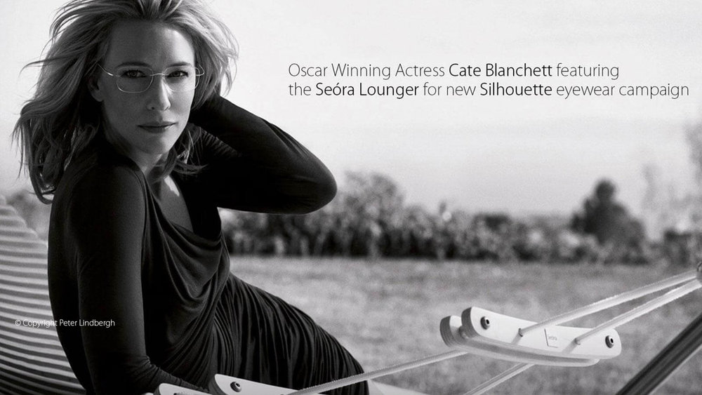 Oscar winning actress Cate Blunchett featuring the Seora Lounger for new Silhouette eywear campaign by Peter Lindberg - Masha Shapiro Agency UK.jpg
