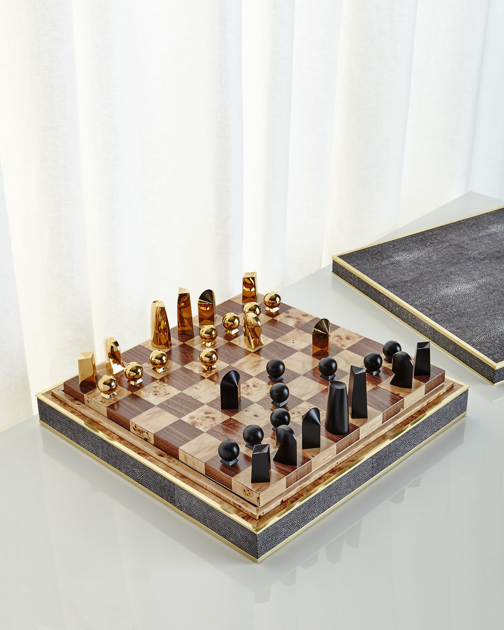 Interiors Advent Calendar - Chocolate shagreen chess-set by AERIN - Masha Shapiro Agency UK.jpg