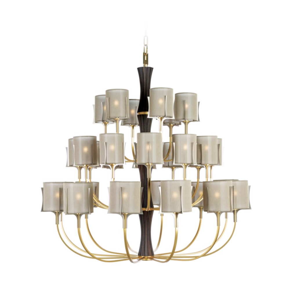 Officina Luce New Flow chandelier in satin gold finish via Masha Shapiro Agency UK.jpg