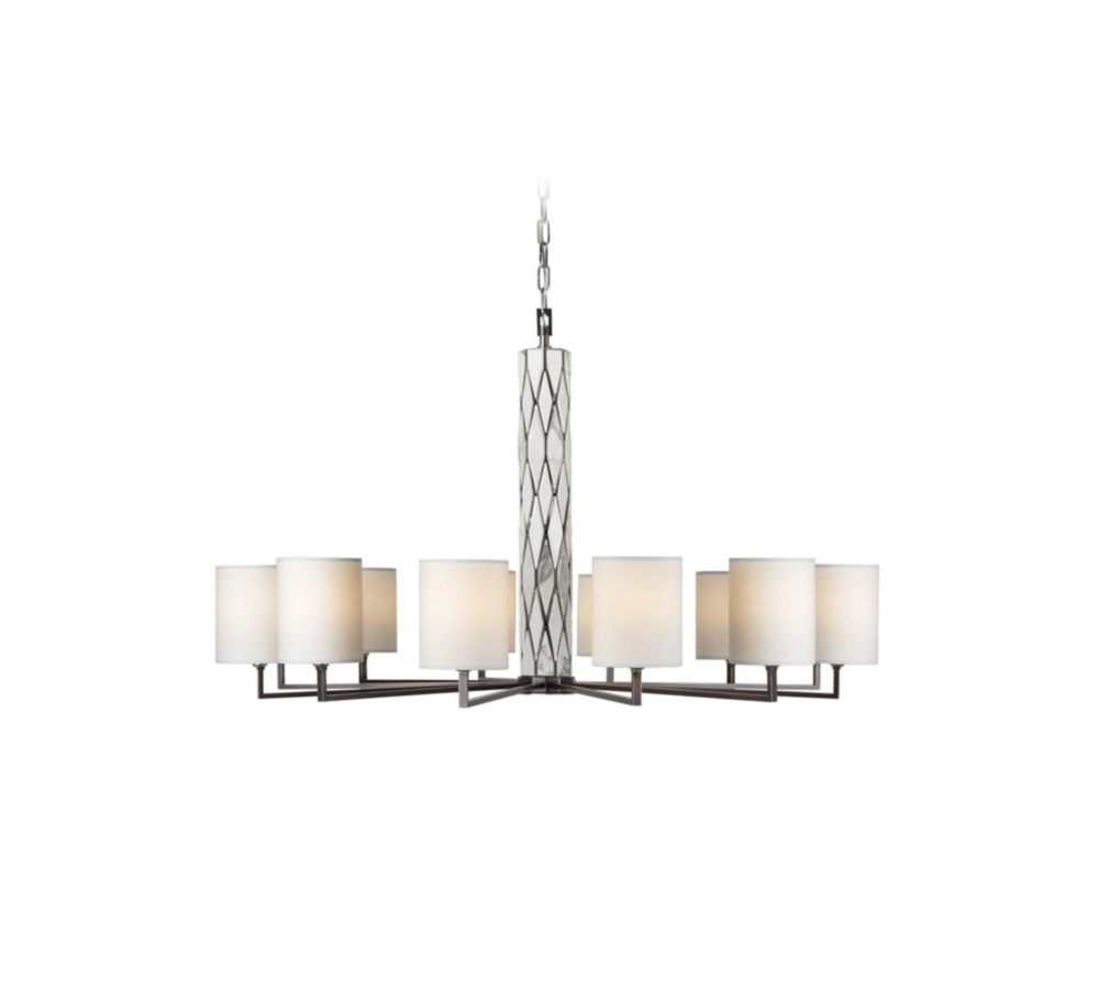 Officina Luce Marble Flaire chandelier in polished nickel via Masha Shapiro Agency UK.jpg