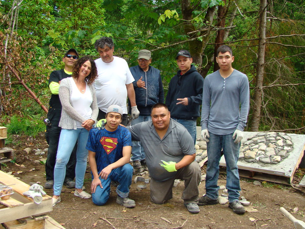 Malahat pond building crew.JPG