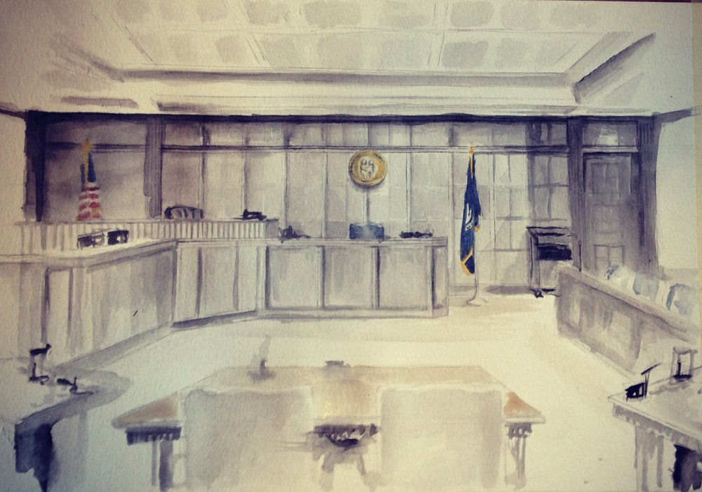 """Lexington Court Room""  watercolor on paper"