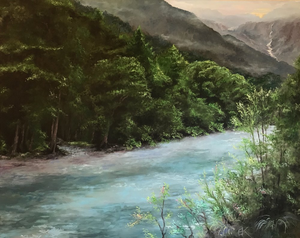 """Mountain River""  24 x 30 inch, oil on canvas."