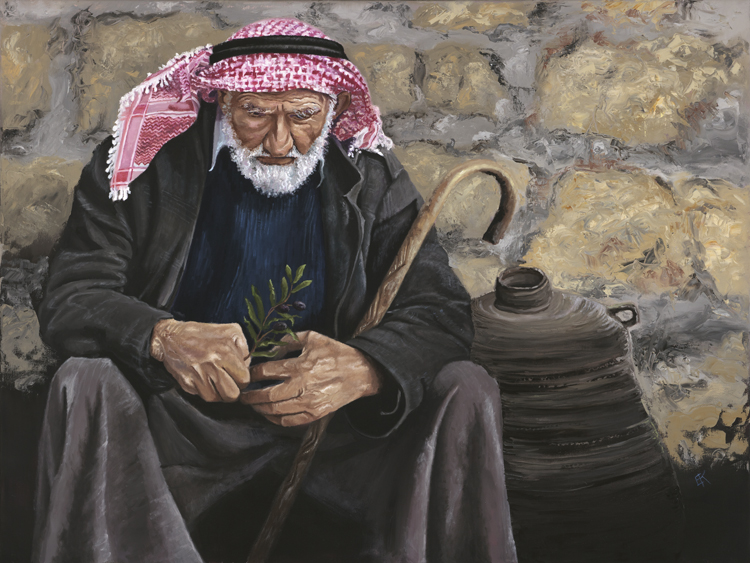 """The Bedouin Shepherd""  30 x 40 inch, oil on canvas."