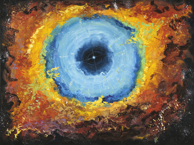 """The Eye of God Nebula""  30 x 40 inch, oil on canvas."