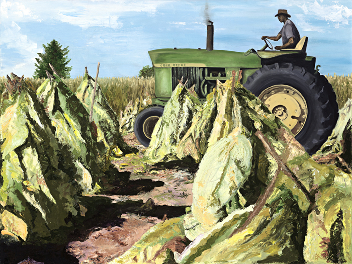 """Tobacco Harvest""   30 x 40 inch, oil on canvas.   SOLD"