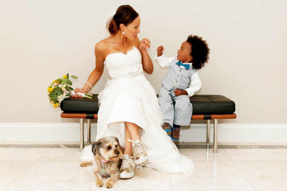 Cute bride and son photo