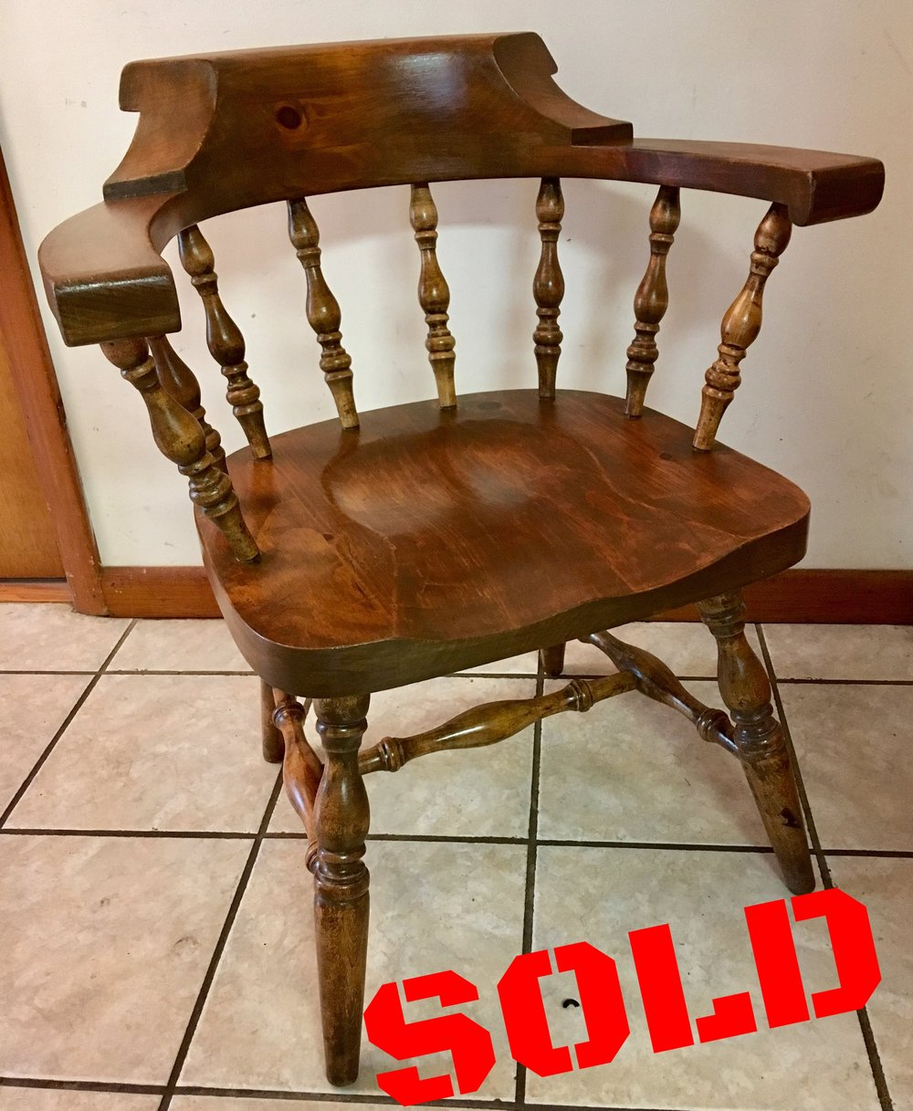 Hand-Restored Antique Captain's Chair