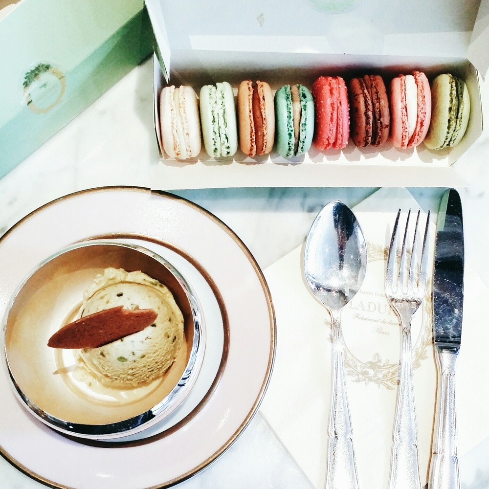 Pistachio ice cream & assortment of macarons.