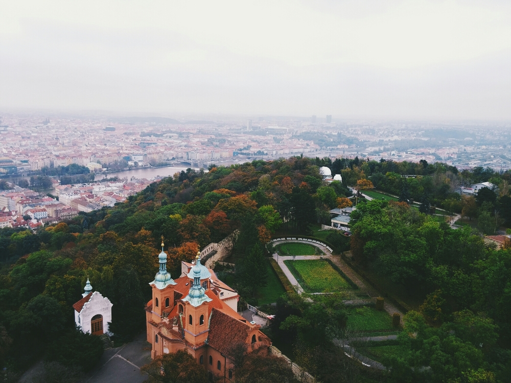 {Breathtaking view from     Petřín Lookout Tower.}
