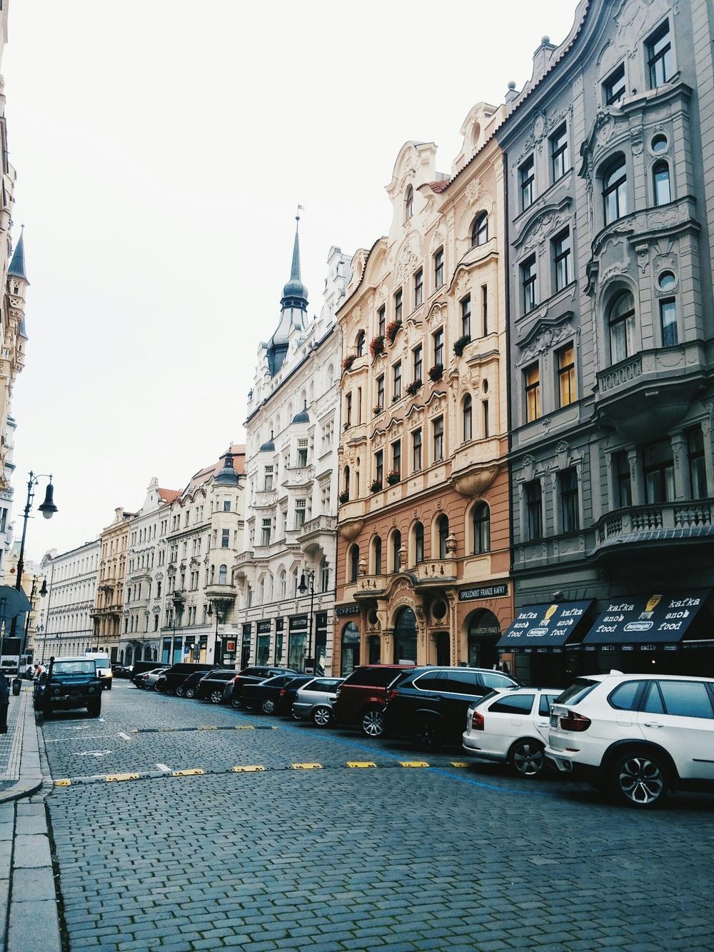 {Beautiful streets of Prague.}