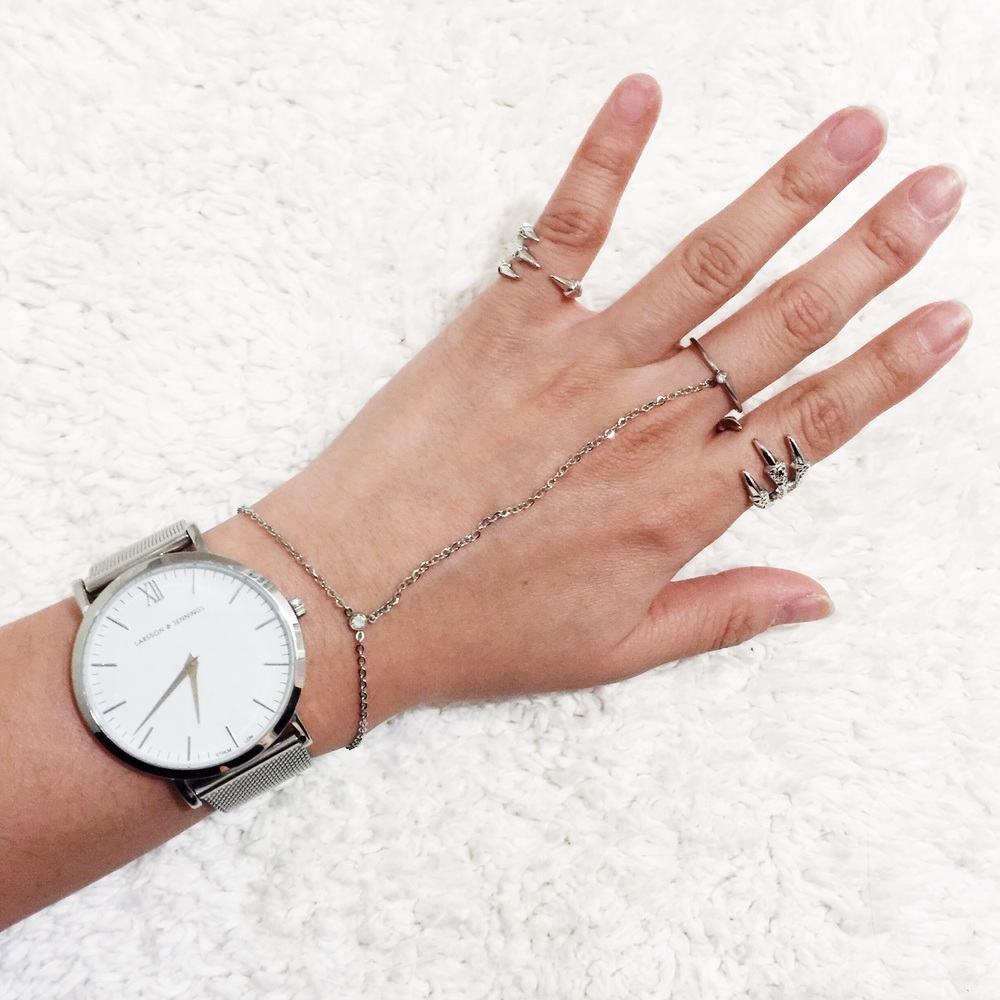 {L&J watch, Wanderlust + Co. chain ring bracelet, Wanderlust + Co. claw ring & midi ring}