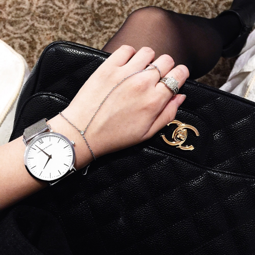 {L&J watch, Wanderlust + Co. chain ring bracelet, David Yurman ring, Chanel bag}